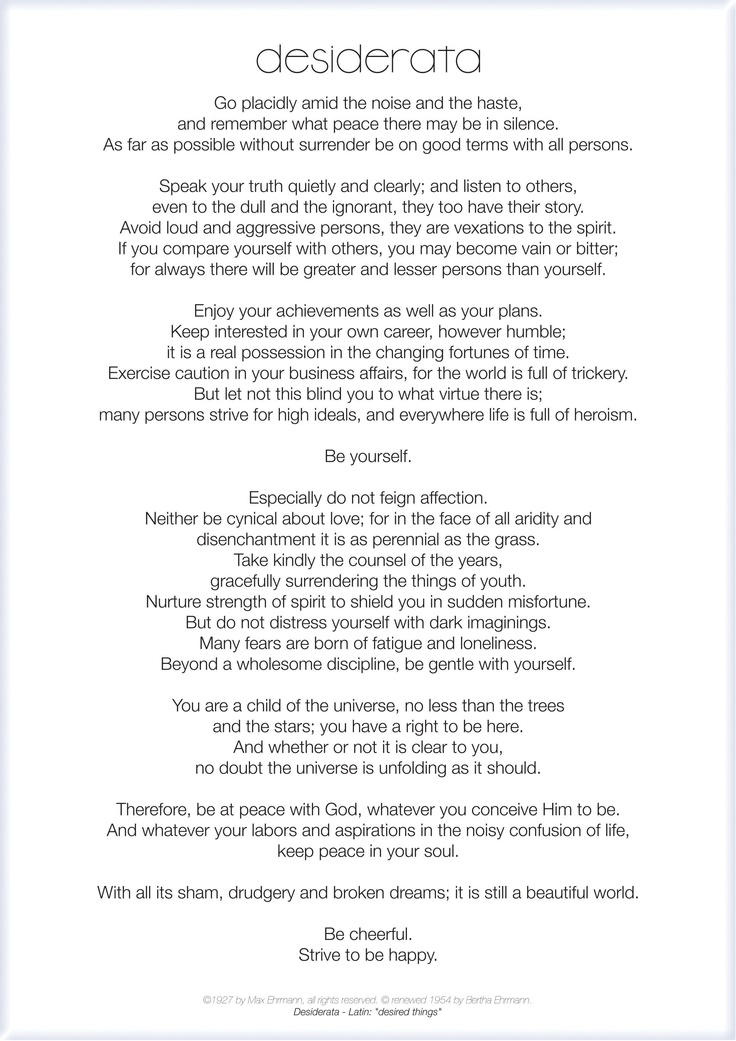 photograph relating to The Desiderata Poem Printable identify Desiderata\u201d by way of Max Ehrmann PrettyBritty